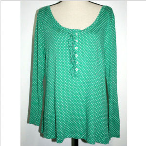 Old Navy Womens XL Blouse Green White Polks Dots